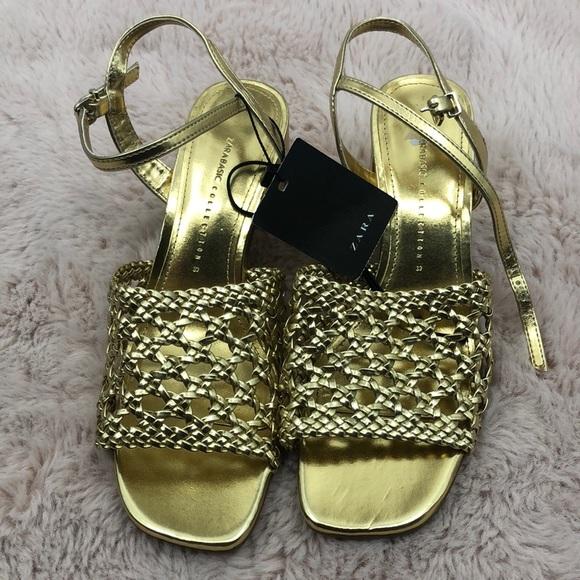 Zara gold woven open toe heeled sandal